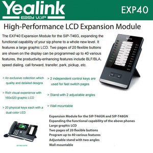 Yealink EXP40 LCD Expansion Module for SIP-T46G and SIP-T48G by Yealink