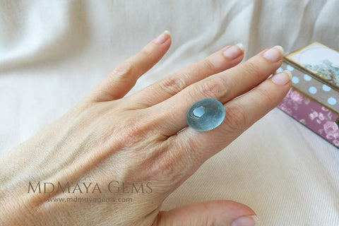 Blue Aquamarine Cabochon Cut