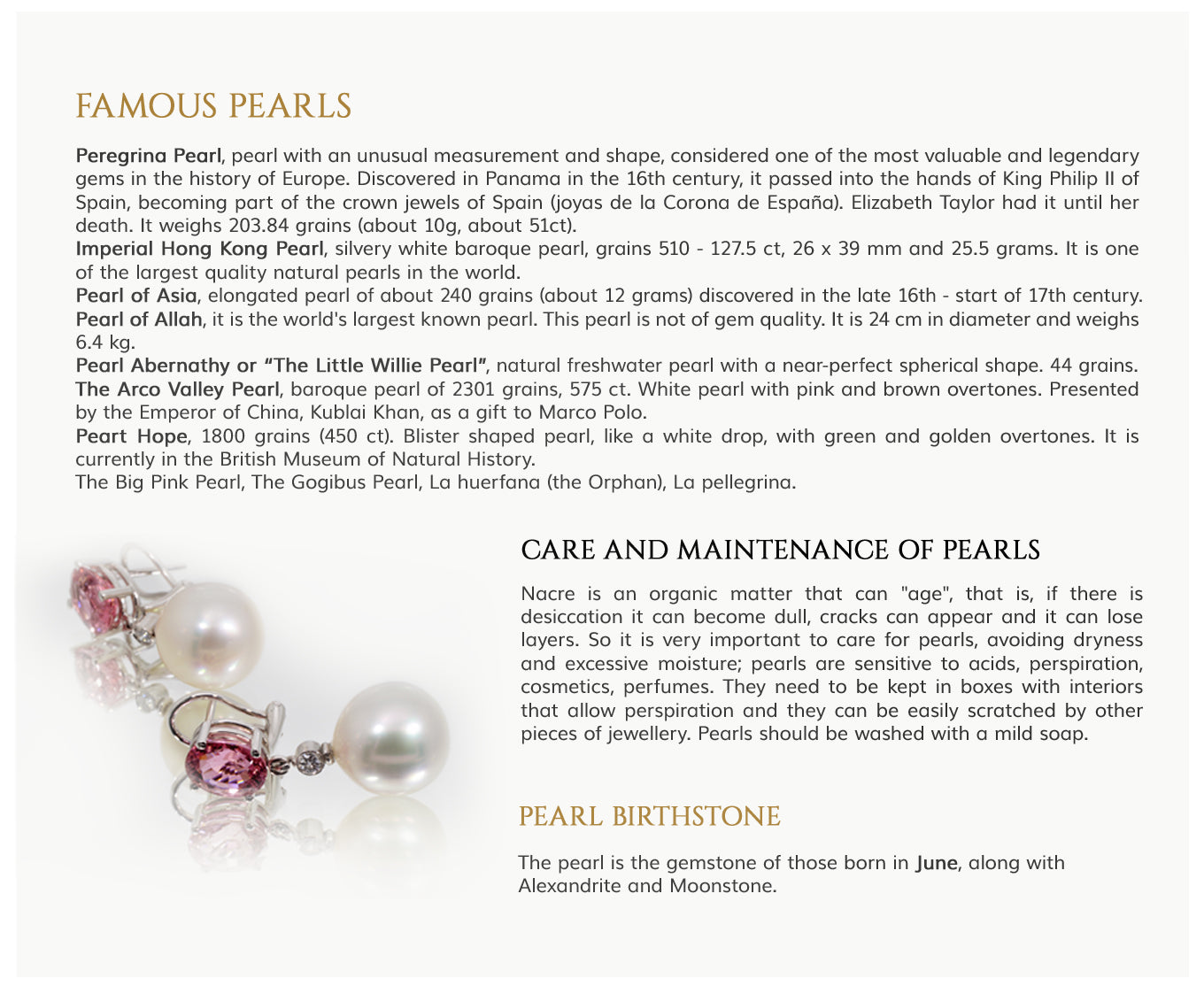 famous pearls care and maintenance