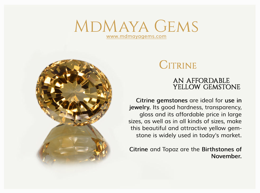 Citrine an affordable yellow gemstone. Information
