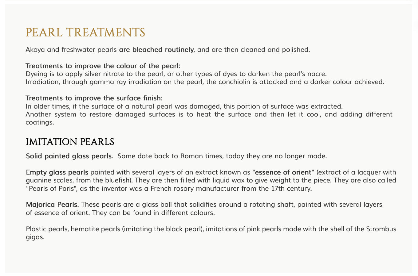 Treatments in Pearls. Care and Maintenance
