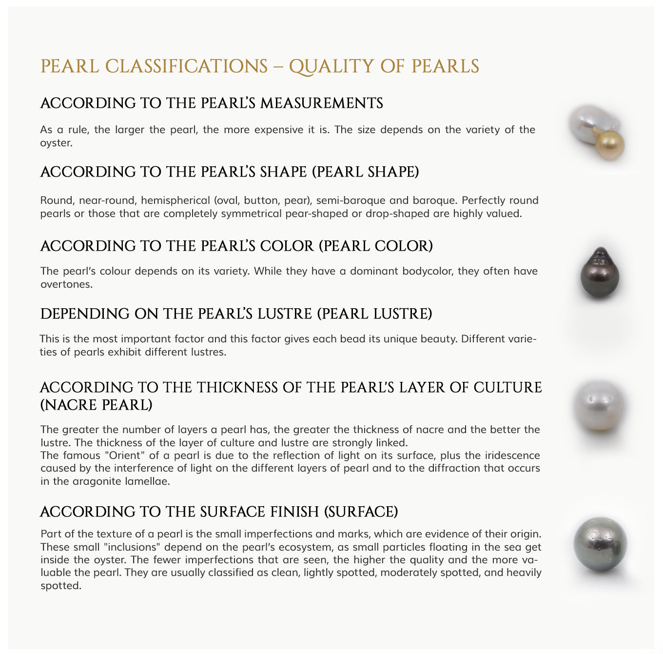 pearls clasification