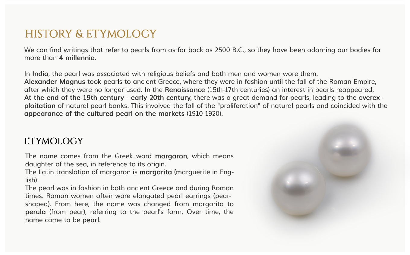 History and Etymology of Pearls