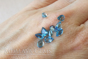 Blue Africana Aquamarine. 10 pieces. Pear cut. 3.86 ct total.