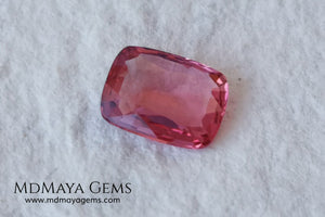 Purplish red Burmese Spinel. Cushion cut. 1.33 ct. This pretty untreated gemstone looks much bigger than it really is, due to its window, has a great color and it will look spectacular in any piece of jewelry and the best, its price.