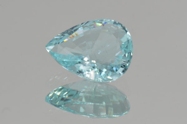 Bright Neon Greenish Blue Paraiba from Mozambique. Pear Cut. 3.69 ct.
