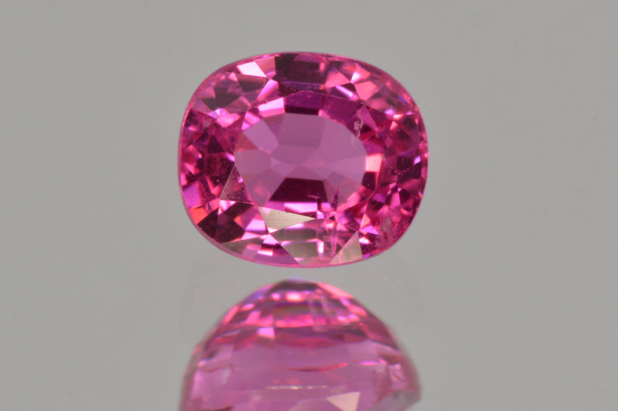 neon vivid candy pink spinel from tanzania cushion cut 1 24 ct