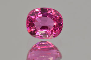 Neon Vivid Candy Pink Spinel from Tanzania. Cushion Cut. MdMaya Gems