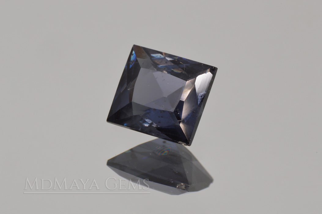 Greyish Blue Spinel Gemstone. Rectangle Cut. 1.30 ct