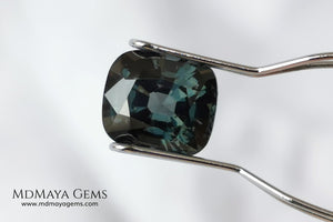 Gorgeous greenish gray spinel, 3.13 ct, cushion cut. This natural and untreated gemstone has an antique cut, its size is ideal, neither too big nor too small. Its behaviour under light is amazing, has a beautiful color under incandescent light, and contains a small treasure inside, another small spinel fully formed, a delight both outside and inside. Mother nature is perfect. It will be ideal in any jewel that you want to personalize. Spinels are gems with rising value.