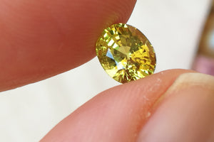 Rich Greenish Yellow Mali Garnet. Oval Cut. 1.38 ct.