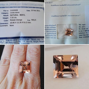 Certificate Peach Morganite Rectangle cut 7 50 ct
