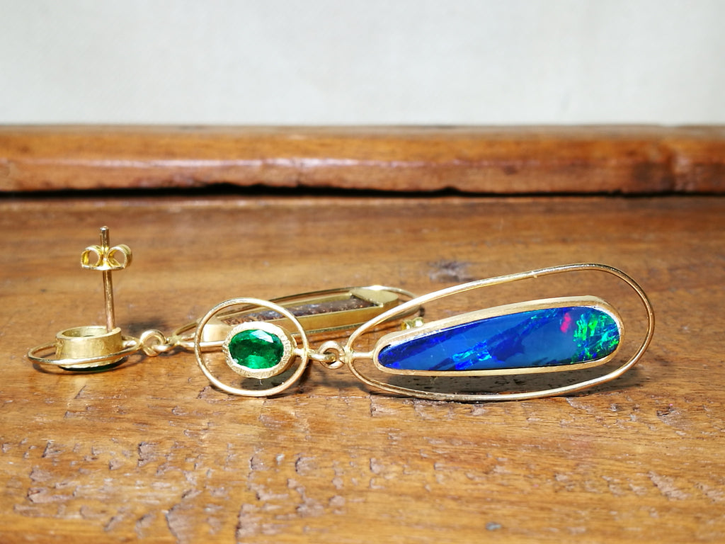 Emerald and Opal Pear Dangle Earrings in 18k Yellow Gold
