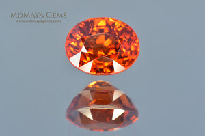 Untreated Orange Spessartite Garnet Gemstone Oval Cut 2.46 ct
