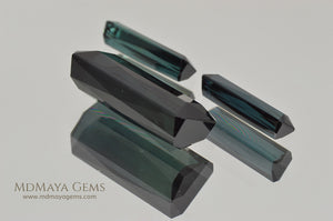 Set of 3 Indicolite Tourmaline. Octagon Cut 12.18 ct