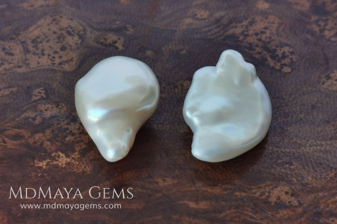White Baroque Freshwater Pearls Pair 41.68 ct