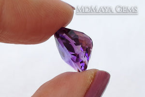 Untreated Amethyst from Brazil 5.35 ct, checkerboard pear cut