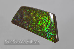 Green Ammolite freeform Cabochon of 37.17 carat from Canada, 40.81 * 18.92 * 4.05 mm, perfect loose gem for jewelry.