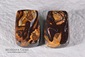 Boulder Opal Pair from Australia. Cabochon Cut. 36.57 ct total.