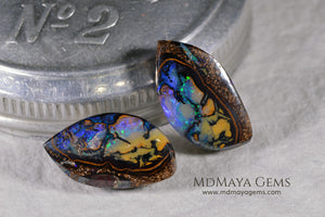 Australian Boulder Wood Fossil Opal Pair. Cabochon Oval Cut. 10.45 ct.