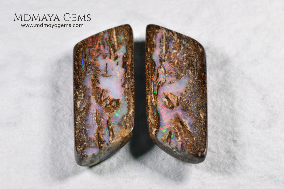 Boulder Wood Fossil Opal pair from Australia 20.92 ct