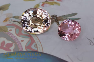 Large peach and pink tourmaline 10 15 ct and pink tourmaline 3 86 ct