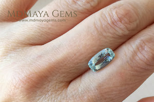 Pretty blue Aquamarine Cushion cut 3.18 ct under daylight