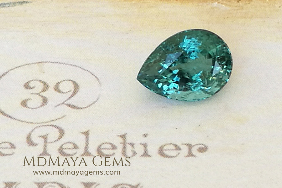 Natural Blue Green African Tourmaline (Mozambique) Pear Cut 3.45 ct under daylight