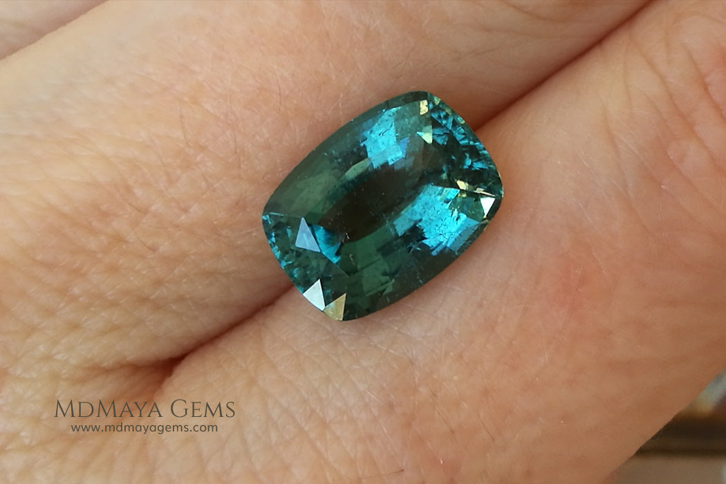 Blue Green African Tourmaline Cushion Cut 4.45 ct