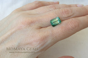Bicolor Tourmaline, Bright Blue Green color, Emerald Cut 4.71 ct - under daylight