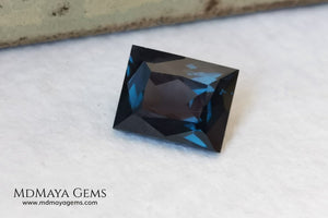Affordable Blue Grey Spinel Gemstone. Rectangle Cut. 2.14 ct. Maximum brilliance. This gem has a beautiful behavior under any type of light, it has a dark blue color full of bright sparkles. Inclusions visible only under the lens.  Beautiful gemstone for your personalized jewelry.