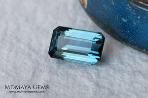 Blue Indicolite. 2.00 ct. Emerald cut. Beautiful blue tourmaline with an elegant cut. Amazing gemstone with good shine and size, it will look ideal in any piece of jewelry.