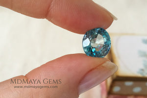 Super Rich Blue Cambodian Zircon Gemstone Oval Cut 6.59 ct