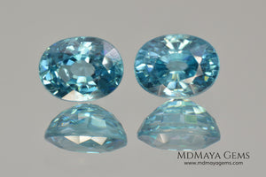 Nice Blue Zircon Pair. Oval Cut. 5.09 ct