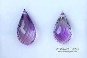 The perfect mismatched pair of Amethyst Briolette Cut 31.86 ct
