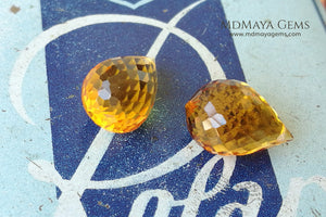 Vibrant orangy yellow citrine pair 9.98 ct