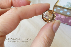 Magnificient Brown Topaz Stone 19.84 ct Round Cut