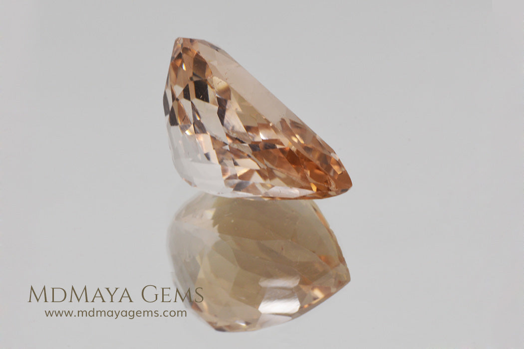 Large Peach Orange Topaz Gemstone 17.40 ct Pear Cut