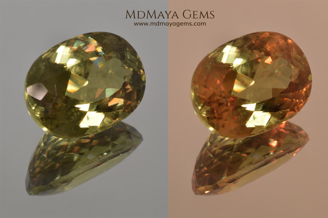 Color Change Diaspore Gemstone 12.03 ct under different lighting conditions