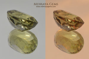 Color Change Diaspore Gemstone 7.68 ct under different lighting conditions