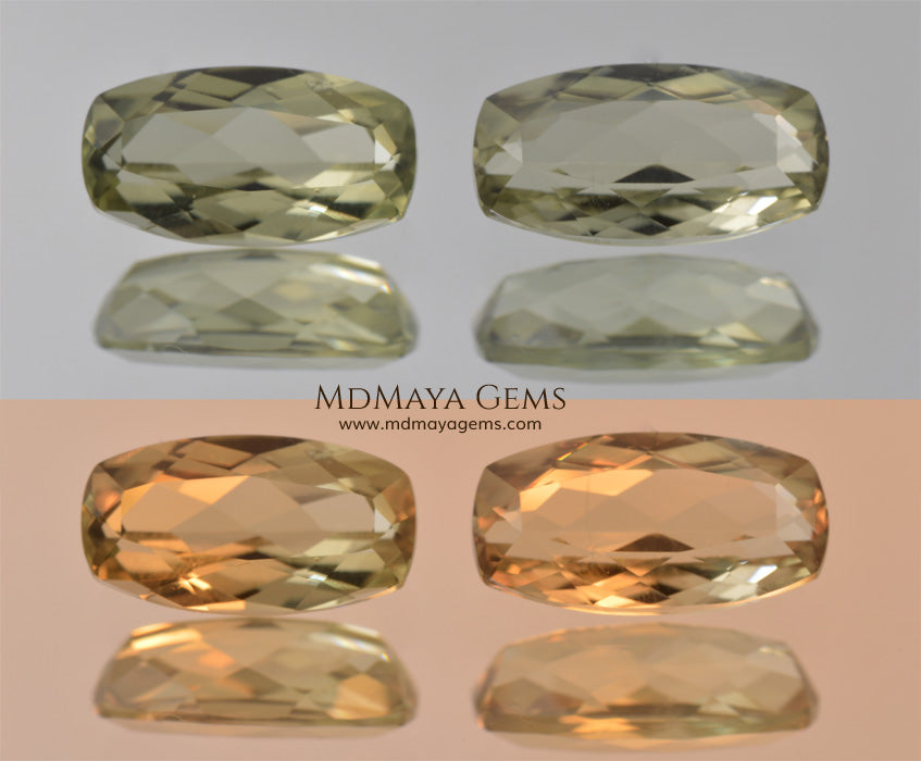 Color Change Diaspore Gemstone 3.15 ct pair under different lighting conditions