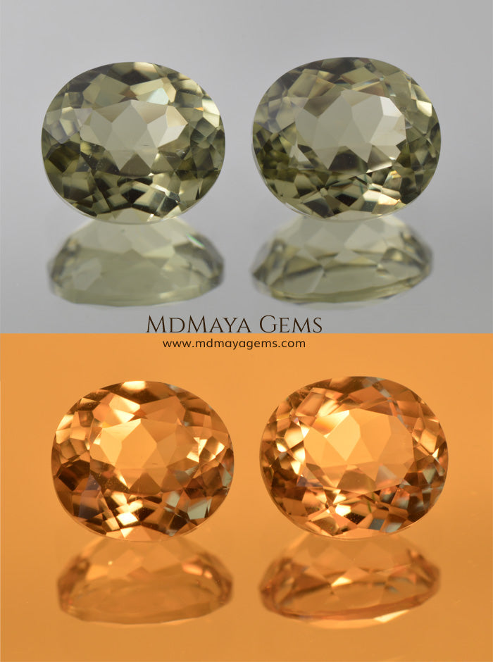 Color Change Diaspore Gemstone 3.99 ct pair under different lighting conditions
