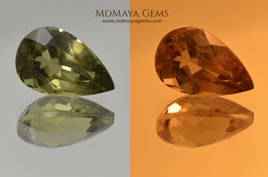 Color Change Diaspore Gemstone 7.77 ct under different lighting conditions