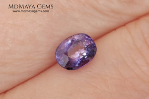 Change Color Sapphire, Oval Cut 1.38 ct. This amazing gemstone is violet in daylight and purple under incandescent light. Its color is very bright and vivid, it will look very interesting in any piece of jewelry, and the best, the price.
