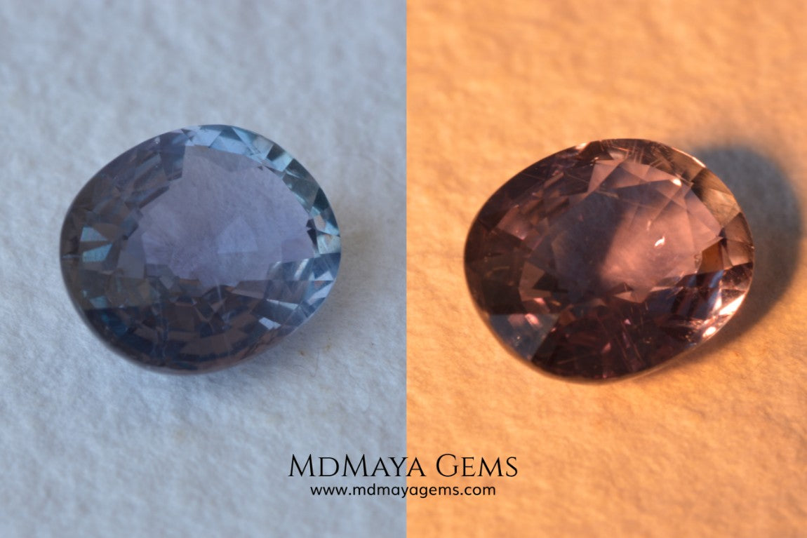Unheated Color Change Sapphire 4.03 ct. Oval Cut. This untreated gemstone is violetish blue in daylight and purple in incandescent light. A large gem at an affordable price. The gem has a nick on the girdle (not visible with the nacked eye), it will look perfect mounted in any piece of jewelry. Don't miss it!