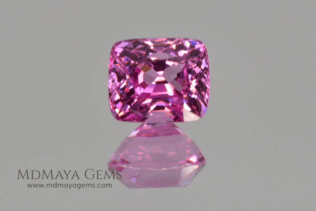 Neon Pink Burmese Spinel Cushion Cut 1.08 ct