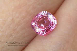 Hot Pink Mogok Spinel Cushion Cut 1.40 ct