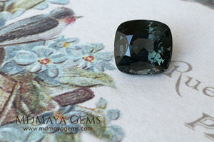 Magnificent Greyish Blue Spinel Cushion Cut 4.80 ct under daylight (crown)