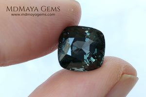 Magnificent Greyish Blue Spinel Cushion Cut 4.80 ct under daylight