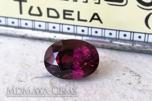 Dark Reddish Purple Tourmaline. Oval Cut. 5.51ct.